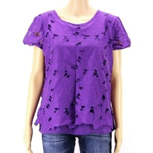 Chico's Women Top Blouse Purple Lined Eyelet
